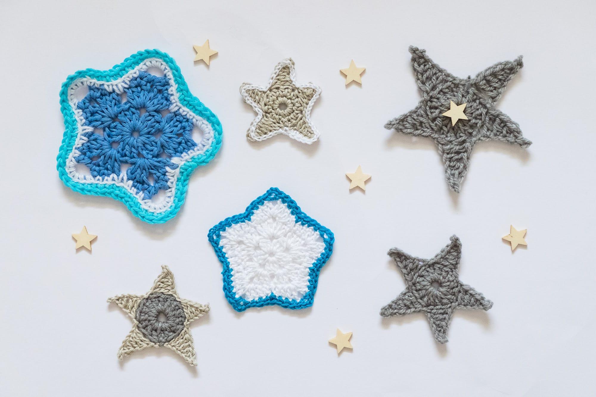 Motivos de ganchillo en forma de estrella