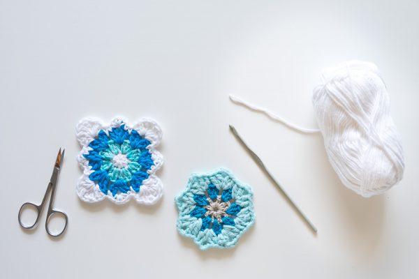 Motivo De Crochet . Granny Square de ganchillo.