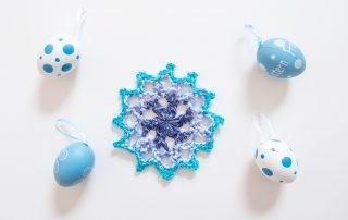 Motivo de crochet azul