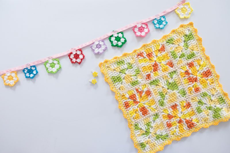 Granny square pillow for summer.