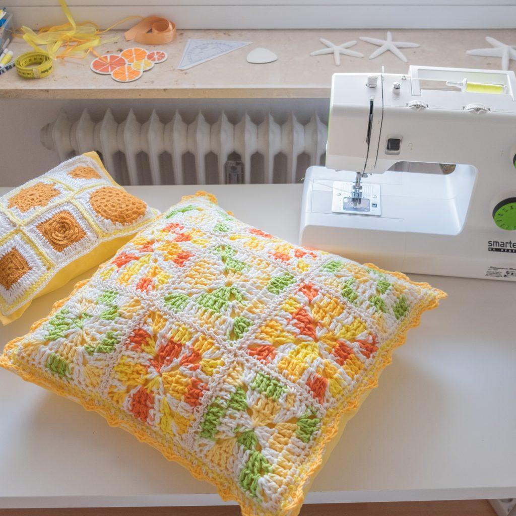 Crochet Granny square pillow for summer.