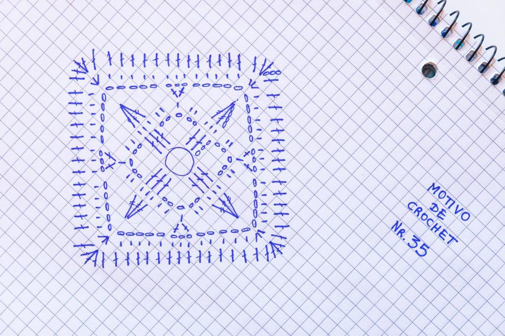 Geometría azul y blanca del motivo de Crochet o granny con su pattern.