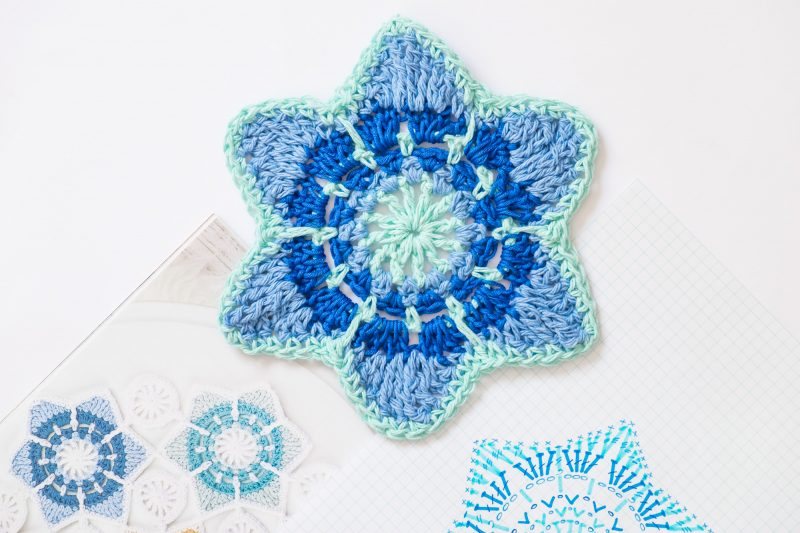 Blue Crochet Star motif and pattern