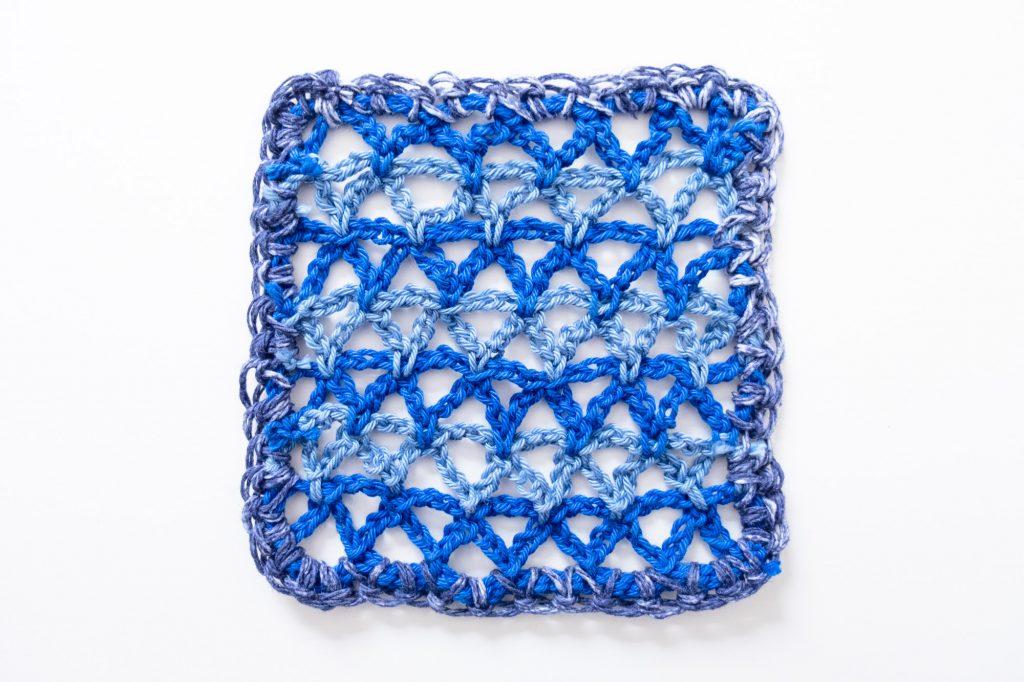 Blue Geometric Granny Square Crochet Azulejos Tiles Blue
